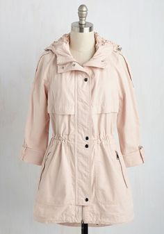 Is there any better way to encompass your feminine flair and adventurous spirit than with this blush jacket? Putting a sweet twist on a classic silhouette with crocheted lace details at the hood, zipper trim, and tab sleeves, this cotton anorak makes hiking and birdwatching all the more empowering!