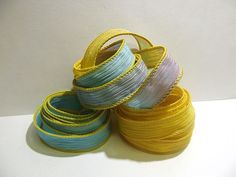 Wildflowers  trio 3 coordinating hand dyed silk by ColorKissedSilk, $9.00