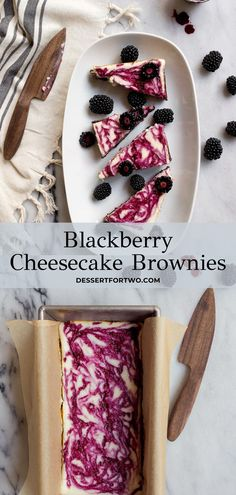 Blackberry Cheesecake Brownies for Two. Homemade brownie recipe in a loaf pan to serve two, with a blackberry swirl cheesecake top. Cheesecake brownies for two. Blackberry Dessert, Fresh Fruit Desserts, Blackberry Cheesecake, Fruit Recipes, Snack Recipes, Dessert Recipes, Snacks, Brownie Desserts, Cheesecake Brownies