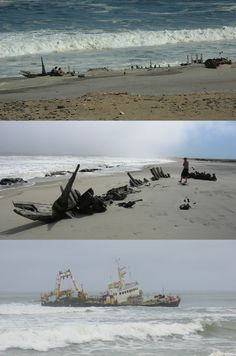 Skeleton Coast - Namibia: The area was named after the whale and seal bones that littered the shore because of the whaling industry, but there are more than a thousand ships caught by rocks and fog.