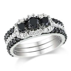 2 CT. Black + White Diamond Ring in 10K White Gold