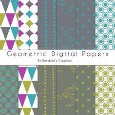 Digital Paper Pack- Geometric- Brights- Lime, Purple, Turquoise #digitalpaper #buyhandmade
