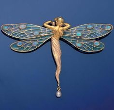 A gold, plique-à-jour enamel, opal and pearl dragonfly brooch/pendant, by Masriera y Carrera