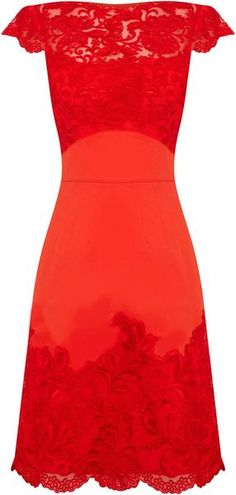 Karen Millen Coloured Lace in Red