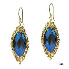 Aeravida Glitzy Oval Crystal Dangle Double Sided Earrings