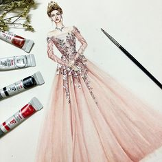 No photo description available. Wedding Dress Illustrations, Wedding Dress Sketches, Dress Design Sketches, Fashion Design Sketchbook, Fashion Design Drawings, Fashion Sketches, Fashion Drawing Dresses, Fashion Illustration Dresses, Dress Fashion