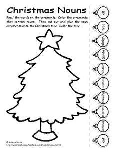Christmas Nouns Worksheet - Rebecca Bettis - TeachersPayTeachers.com