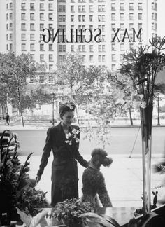 Woman and her poodle gazing at window display in Fifth Avenue shop -Photography by Alfred Eisenstaedt