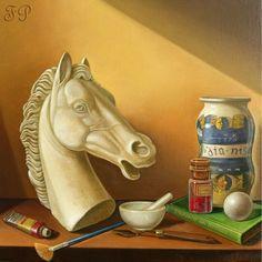 """""""Il cavallo"""" 2009 Olio su tela 50 x 50 Copyright c Pedretti Felice all' rights reserved"""