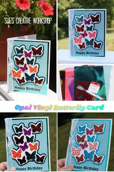 Create a little Shimmer and Shine with this Irridescent Butterfly Card. Designed by Sue's Creative Workshop www.sueeldred.com #cardmaking #opalvinyl #creatingwithvinyl Creative Workshop, Shimmer N Shine, Butterfly Cards, Glitter Vinyl, Vinyl Crafts, Decoration, Iridescent, Opal, Craft Projects