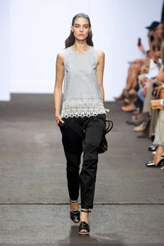Bare shoulders Black slim pants Embroidery at bottom of shirt  Rag and Bone Spring 2013 Ready-to-Wear Runway - Rag and Bone Ready-to-Wear Collection - ELLE