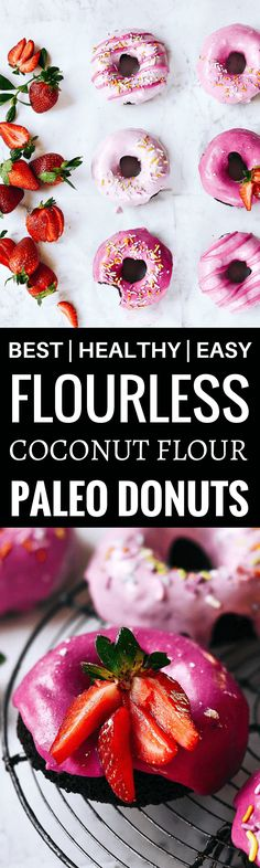 Paleo coconut flour brownie doughnuts. These cake like doughnuts are topped with a beautiful pink frosting made from beets! Easy to make recipe. Can be made ahead of time and frozen! Paleo donut recipe. Best paleo doughnuts. Easy gluten free donut recipe. coconut flour doughnuts. paleo coconut flour donut recipe. healthy chocolate doughnut recipe. easy gluten free donut recipe.