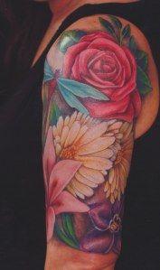 Jeremy Miller flower sleeve-I'm in love! Time Tattoos, Sexy Tattoos, Body Art Tattoos, Cool Tattoos, Tatoos, Female Tattoos, Pretty Tattoos, Beautiful Tattoos, Tattoo Sleeve Designs