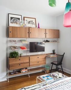 A String System storage unit provides ample space for a low-key workstation.