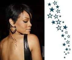 Cascading Stars Tattoo Rihanna This multiple little star tattoo is one of the most visible tattoos of Rihanna, it was performed in 2008, started in L.A. and finished in New York. It seems that it is a match for Chris Brown's star tattoo from behind his ear. Star tattoos in general signify a desire to reach a high goal and to live life shining, always on high peaks. £3.00
