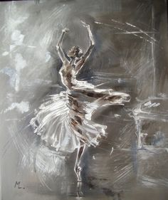 """ARTFINDER: """" BALLET """" by Monika Luniak - OIL ON CANVAS signed with a certificate of authenticity.   I use a knife palette, original, oil on canvas and heavily textured.  50x60cm, ready to hang, pict..."""