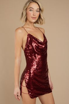 Where elegance and sexiness meet. You have to have the Wild Child Sequin Wine Bodycon Dress for all your holiday parties. This sequin cowl neck dress Sexy Dresses, Cute Dresses, Short Dresses, Vegas Dresses, Elegant Dresses, Backless Dresses, Dresses Dresses, Summer Dresses, Fashion Clothes