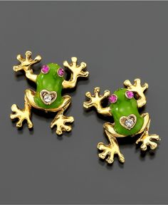 Betsey Johnson Earrings, Frog Stud - Fashion Jewelry - Jewelry & Watches - Macy's