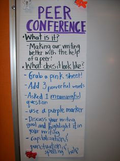 Peer Conferencing Ideas for Writer's Workshop.  This is a strong starting point...