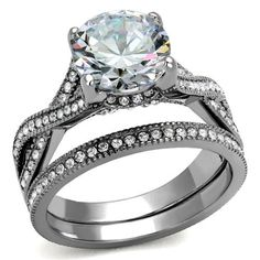 2CT Perfect Solitaire Cut Russian Lab Diamond Promise Engagement Anniversary Wedding Ring Set
