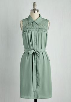 Gazebo Skylight Dress in Sage. A romantic stroll in this sage green shirt dress leads you to a moonlit arbor. #green #modcloth