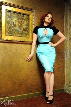 Violet Dress in Blue Bengaline with Black Velvet Pin Up Girl Clothing