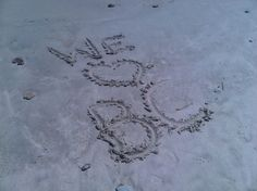 A sandy love note from a 5-year-old aspiring Eagle at Humarock Beach in Scituate, Mass. on July 4, 2012.