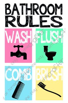 What is the easiest way to remind your little ones the rules for the bathroom? This fun print, of course! With its bright colors and simple graphics it is a great reminder for those who can or cant (or wont) read the rules Bathroom Rules, Bathroom Kids, Fun Prints, Little Ones, Fonts, Printables, Simple, Color, Etsy