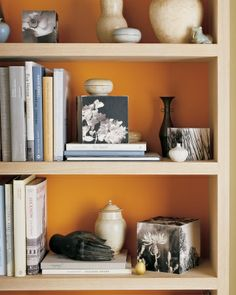 Orange Backdrop  Paint the backs of bookcases in vibrant colors -- or just line them with colored paper -- to make your case pop.