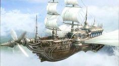 Airship Art from SquareEnix. .606px-Enterprise DS Opening #sailing ship #air ship #art