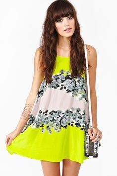 Acid Bloom Silk Dress