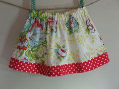 Girls Skirt Twirl Skirt Modern Floral Blue by SouthernSeamsKids
