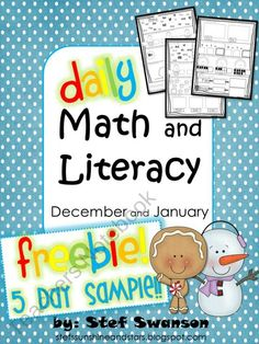 Daily Math and Literacy Winter December and January FREEBIE! 5 day Sample product from Sunshine-and-Stars on TeachersNotebook.com