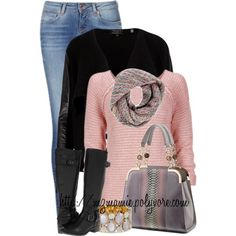 A fashion look from February 2014 featuring pink cardigan, urban jackets and blue skinny jeans. Browse and shop related looks. Fall Winter Outfits, Spring Outfits, Winter Fashion, Outfits 2014, Cute Outfits With Jeans, Pretty Outfits, Casual Outfits, Tomboyish Outfits, Complete Outfits