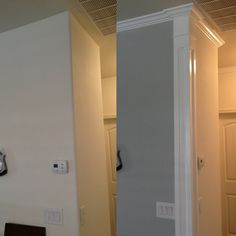 Crown, corner/column molding.    This was inspired by a picture I re-pinned.    Had to move the light switch and thermostat.