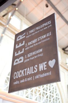 Suspended drink menu - beer and cocktails, something for everyone