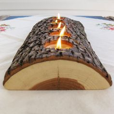 5 tealight wood candle holder low lying bark on split log eco nature beeswaxâ?¦