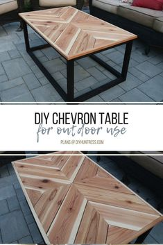 Woodworking For Beginners Projects DIY Outdoor Chevron Coffee Table - DIY Huntress. For Beginners Projects DIY Outdoor Chevron Coffee Table - DIY Huntress. Table Chevron, Chevron Coffee Tables, Outdoor Coffee Tables, Wood Coffee Tables, Coffee Table From Pallets, Wood Tables, Table Palette, Coffee Table Design, Coffee Table Upcycle Ideas