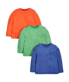 Green, Blue and Orange T-Shirts - 3 Pack