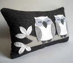 Night Owls Felt Pillow Cover by Sukan