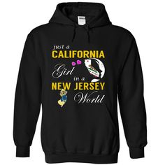 Just a California Girl in a New Jersey World New T-Shirts, Hoodies. ADD TO CART ==► https://www.sunfrog.com/States/Just-a-California-Girl-in-a-New-Jersey-World--New-psjfzwwfjj-Black-Hoodie.html?id=41382