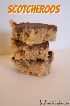 Scotcheroos: Peanut Butter Krispie Treats with Chocolate Butterscotch Frosting.