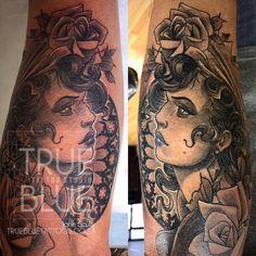 Queen on Deck - True Blue Professional Tattoo Studio Professional Tattoo, Scully, Tattoo Studio, Deck, Queen, Portrait, Tattoos, Blue, Tatuajes