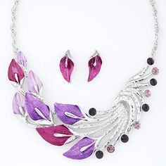 Rhinestone Leaves Necklace & Earring Set   Bling By Shauna