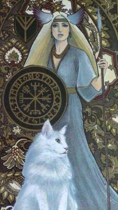 Freya Nordic goddess of war, love and sensuality – Norse Mythology-Vikings-Tattoo Norse Goddess Of Love, Goddess Art, Nordic Goddesses, Gods And Goddesses, Norse Pagan, Pagan Art, Freya Norse Mythology, Celtic Fantasy Art, Fantasy Kunst