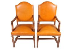 French Leather Armchairs, Pair