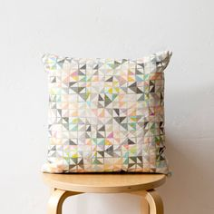 Geometric Print Cushion: 'Purl' mid-scale design, colourful digitally printed linen, 14 x 14 inches. Hand-drawn triangle pattern.