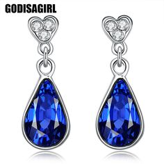 Vintage Clear and Dark Blue Color Crystal Drop Earrings for Women Dangle Earrings #Affiliate