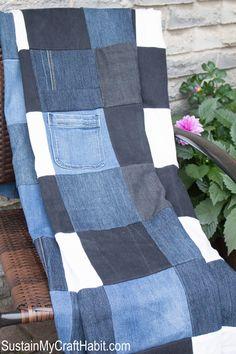 Denim picnic blanket DIY upcycle- SustainMyCraftHabit.com