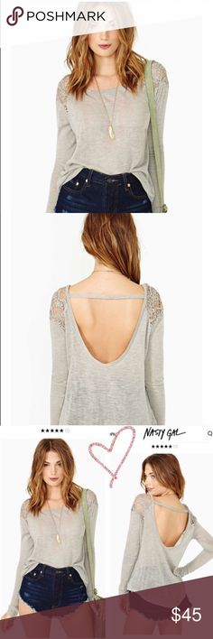 Nasty Gal floral crochet lace open back sweater  New Nasty gal floral lace knitted crochet shoulders grey sweater super cute size medium and fits small - medium  thinner sweater perfect for LA to fall & winter weather super cute : topshop dollskill alternative unif wild fox Brandy pastel knit lululemon cute girly vs pink trendy floral lace knitted Nasty Gal Tops
